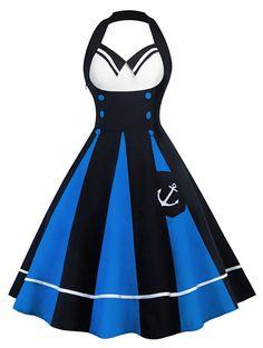 Vintage Halter Color Block Backless Pin Up Dress - BLUE AND BLACK 2XL