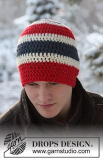"Crocheted hat in ""Alaska"". (ALASKA from Garnstudio 50g each off red, off-white and blue, HOOK SIZE 5 [14 tr width])"