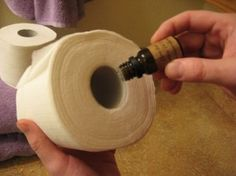 When you get out a new roll of toilet paper, place a few drops of your favorite essential oil in the cardboard tube of the toilet paper.  This will release the scent of the oil each time the paper is used. RIDICULOUSLY good idea! haha