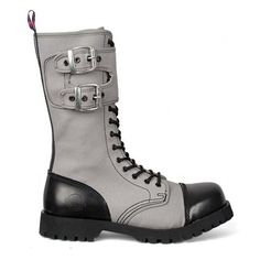 Gray Canvas Gothic Combat Boots by Nevermind.- Gray Canvas Gothic Combat Boots by Nevermind. Gray canvas combat boots with Black leather capped toe and heel. Black Leather Combat Boots, Black Platform Boots, Leather Cap, Gothic Boots, Timberland Boots Outfit, Timberland Waterproof Boots, Yellow Boots, Steel Toe Boots, Shoe Company