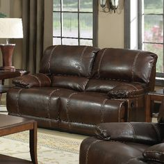 Mt. Hood Leather Reclining Loveseat, #Sofas, #PLKH1007