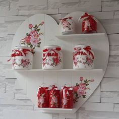 Nazlı Aksu: Kokoş Home - SHELVES and JARS We offer you excellent ideas to decorate your house, follo Decoupage Jars, Decoupage Paper, Jar Crafts, Wood Crafts, Diy And Crafts, Shabby Chic Kitchen, Shabby Chic Decor, Country Decor, Painted Furniture