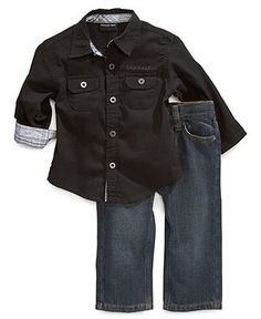 Calvin Klein Baby Set, Baby Boys 2-Piece Shirt and Pants - Kids Baby Boy (0-24 months) - Macy's
