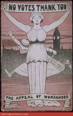 National League for Opposing Woman Suffrage postcard announces an anti-suffrage meeting at the Royal Albert Hall. -- The central figure represents a 'Womanly Woman' wearing a feminine dress and flowers in her hair, she politely refuses the vote. Behind her is the suffragette depicted as the 'hysteric' or the 'shrieking sister', inelegantly leaping towards parliament brandishing a hammer.