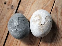 kitchen decor - salt and pepper shakers - original sea stone set  -Mr and Mrs