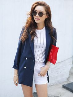 [STYLENANDA] BASIC LOOSE-FIT LINEN DOUBLE BREASTED BLAZER