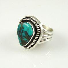 Morenci Turquoise Ring  by Leonard Nez, Navajo