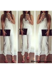 White Strapless Pleated Jumpsuit - Gorgeous Sweetheart Neckline Jumpsuit