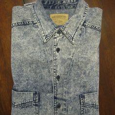Vintage Levis Denim Shirt Retro Acid Wash Blue Mens L Whitewash 1980s 1990s  #Levis #ButtonFront