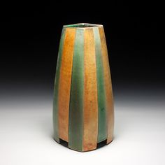 Green Gold Vase David Crane x x Stoneware Lillstreet Gallery David Crane, Fired Earth, Gold Vases, Ceramic Painting, Green And Gold, Stoneware, Pots, Bottles, Projects To Try