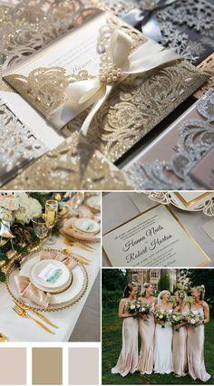 glamour champagne and ivory modern wedding theme #EWI #weddinginvitations