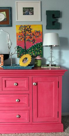 pink painted furniture | Pretty in Pink Colors {A Dresser Goes Girlie}