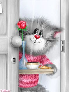 Animated Gif by Breakfast Pictures, Image Chat, Beautiful Gif, Beautiful Morning, Tatty Teddy, Cat Drawing, Morning Images, Happy Day, Cute Cartoon