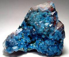 Shattuckite and hematite in quartz, Namibia