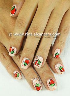 Strawberry and More Strawberries Nail Art Design by Simply Rins