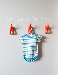 Gray Striped Orange and Aqua Nursery Puppy Hooks