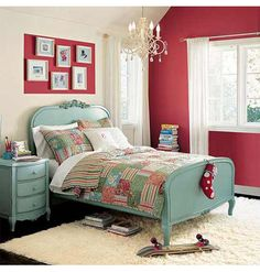 Watermelon walls and aqua furniture- If I ever redo the girl's room, I may have to use this as inspiration!