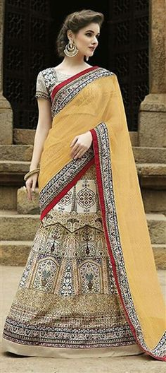 195391 Beige and Brown color family Brides maid Lehenga, Mehendi & Sangeet Lehenga in Faux Georgette fabric with Printed work .