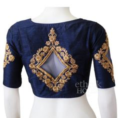 Designer readymade embroidered long sleeve saree blouse with net patch by Ethnikhouse on Etsy Brocade Blouse Designs, Pattu Saree Blouse Designs, Bridal Blouse Designs, Blouse Neck Designs, Blouse Patterns, Hand Work Blouse Design, Stylish Blouse Design, Saree Designs Party Wear, Boat Neck