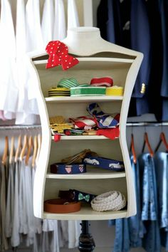 this has got to be one of my favorites- a mannequin with shelves to house your (ridiculously preppy) belts and ties.