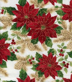 Holiday Inspirations-Vintage Poinsettias  Holiday Fabric at Joann.com