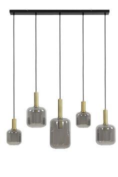 Hanglamp 5L glas smoke + antiek brons Kitchen Island Lighting, Dining Room Lighting, Pendant Lamp, Pendant Lighting, Glass Light Shades, Visual Texture, A Table, Sweet Home, Ceiling Lights
