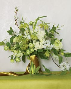 hellebores, green Japanese spray roses, fritillaria, apple blossoms, snowdrops and double narcissus Wedding Flower Arrangements, Wedding Bouquets, Floral Arrangements, Wedding Flowers, Bridesmaid Bouquet, Bridesmaids, Green Flowers, Green Colors, Winter Flowers