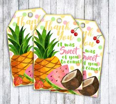 Tutti-fruity party tags or two-tti fruity with pineapple and tropical fruit theme for party favors decor door prizes or goodie bags Fruit Birthday, 2nd Birthday Parties, Tutti Frutti, Tutti Fruity Party, Second Birthday Ideas, Fruit Party, Deco Table, Party Time, First Birthdays