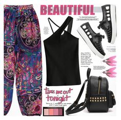 """Printed Pants"" by katjuncica ❤ liked on Polyvore featuring Maybelline, WALL, Summer, summerstyle, PrintedPants, pinkandblack and blacktop"