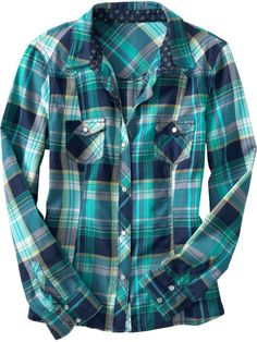 0835f4439 Old Navy Plaid Camp Top Never worn! Made with blues and greens. Snap button  down. Sleeves can be rolled and buttoned. Two pockets on the breasts.