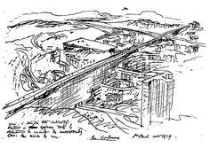 """Plano de Le Corbusier para São Paulo, 1929. Note-se a Cidade-Viaduto e os Edifícios adjacentes, uma implantação muito a semelhança do que ocorre com o Viaduto do Chá e os Edifícios no seu entorno no Anhangabaú. Le Corbusier conheceu o Anhangabaú em 1929, o seu plano tem na gênese do imaginário o Anhangabaú e o Viaduto do Chá. BARDI, Pietro M. """"Lembranças de Le Corbusier"""". São Paulo, Nobel, 1984."""