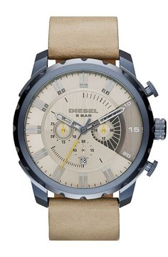 DIESEL®+'Stronghold'+Chronograph+Leather+Strap+Watch,+51mm+available+at+#Nordstrom