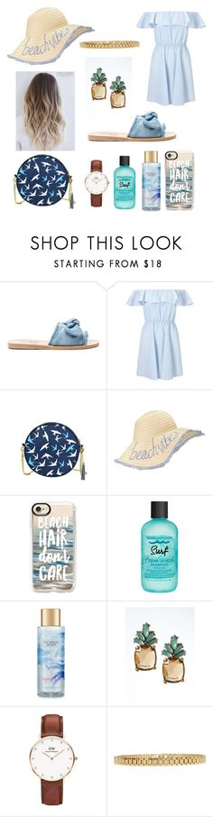 """""""Summer Lovin ' 💙🌊✨🍍"""" by magnificentmichelle ❤ liked on Polyvore featuring Ancient Greek Sandals, Miss Selfridge, Casetify, Bumble and bumble, Victoria's Secret, Banana Republic, Daniel Wellington and AMBUSH"""