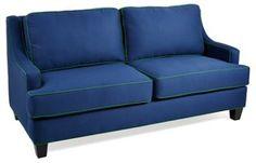 """Peyton 77"""" Sofa, Navy/Green"""