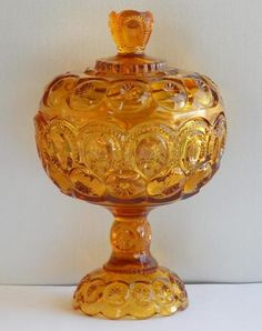 """L E Smith Moon Stars Amber Glass Covered Compote Bowl Candy Dish Lid 10"""" T 