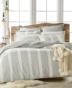 Martha Stewart Collection Willow Stripe Flannel Duvets, Only at Macy's - Duvet Covers - Bed & Bath - Macy's