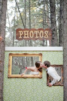 What a great photo booth idea!- black frames and orange background