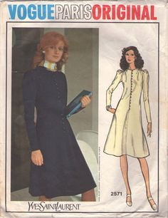 Vogue 2571 Vintage 70's Sewing Pattern DANDY Paris Original Designer YSL Yves Saint Laurent Front Button & Loop Fit & Flared Career Dress, Leg O'Mutton Sleeves #MOMSPatterns