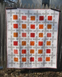 Here is my quilt entry for the Tangerine Tango challenge. Yup, it's a variation on my Dusty Springfield Quilt! It measures 52″ x 60″ Only this one features a random 90 degree angl…