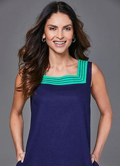 Square Neck Linen Colourblock Dress Dresses For Less, Fabulous Dresses, Square Necklines, Occasion Wear, Navy And Green, Long A Line, Dress Making, Glamour, Tank Tops