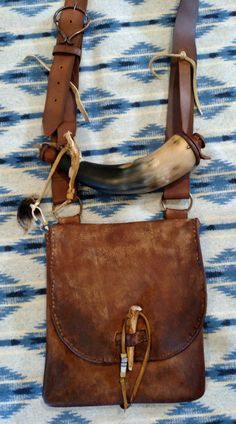 Primitive Mountain Man Possibles Bag with Powder Horn by Miss Tudy  https://www.facebook.com/outoftheashesforge/