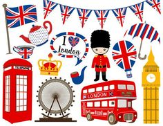 British Party, Travel Clipart, Fashion Clipart, Girl Clipart, Clip Art, London Art, Classroom Themes, Illustrations, Digital Collage