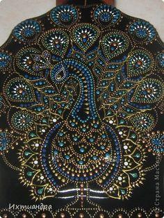 Декор предметов Роспись: Расписной павлин Бутылки стеклянные, Краска. Фото 4