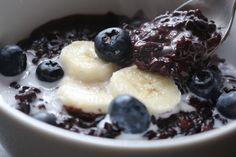 Pudim de Arroz Preto Com Mirtilos e Especiarias   *Joana Banana* Fit Black Rice Pudding