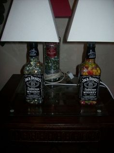 turn old liquor bottles into lamps