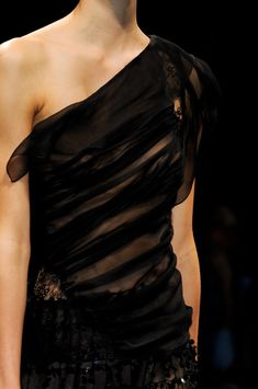 Alberta Ferretti Spring 2013 Milan Fashion Week . Fashion . Black . Off Shoulder . Sheer . stylebistro.com