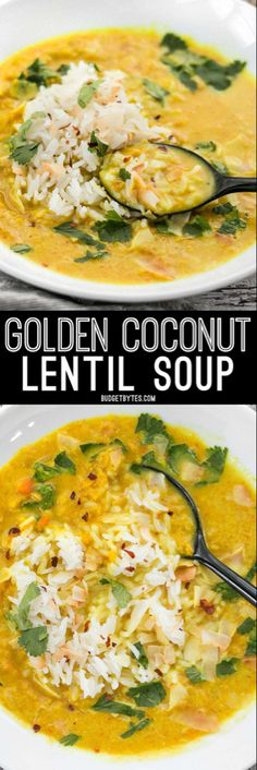 Coconut Lentil Soup - Vegan - Budget Bytes Golden Coconut Lentil Soup is a light and fresh bowl with vibrant turmeric and a handful of fun toppings.Golden Coconut Lentil Soup is a light and fresh bowl with vibrant turmeric and a handful of fun toppings. Veggie Recipes, Indian Food Recipes, Whole Food Recipes, Vegetarian Recipes, Cooking Recipes, Healthy Recipes, Delicious Recipes, Tasty Recipe, Healthy Soup