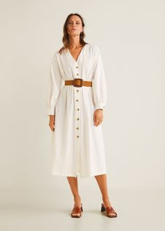 Discover the latest trends in Mango fashion, footwear and accessories. Shop the best outfits for this season at our online store. White Frock, White Sundress, Mango Fashion, Love Fashion, Fashion Details, Flare, Dress Skirt, Shirt Dress, Mango France