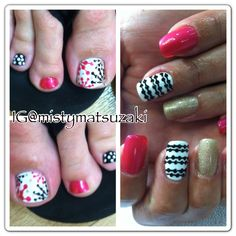 Black and white with pink accent shellac nail art by misty