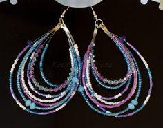 Lilac Bollywood Hoop Earrings - White, Purple & Blue Seed Bead - Beaded Hoop Earrings. $19.00, via Etsy.